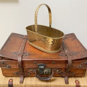 VTG Woven Brass Basket Cachepot